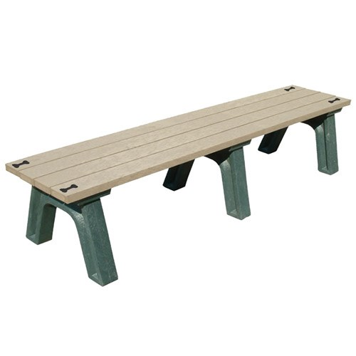 View DOGIPARK® 6' Flat Poly Bench ( 7712-GS-BONES )