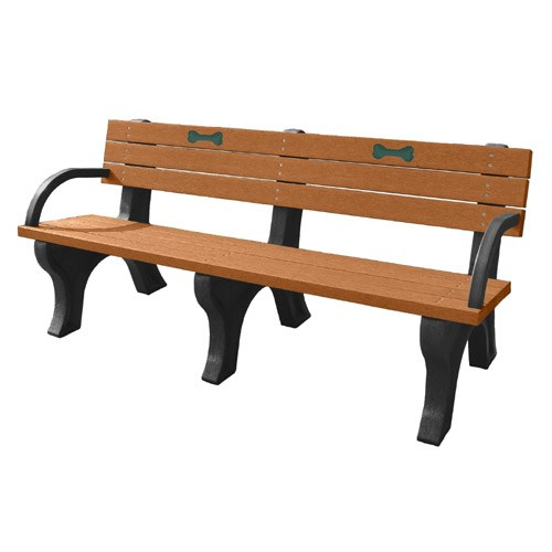 View DOGIPARK® 6' Backed Poly Bench with Arms ( 7713-BC-BONES)