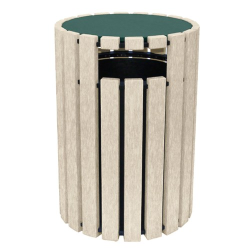 View DOGIPARK® 33 Gallon Poly Trash Receptacle with Lid ( 7722-GS )