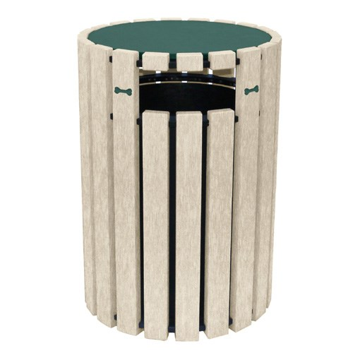 View DOGIPARK® 33 Gallon Poly Trash Receptacle with Lid ( 7722-GS-BONES )